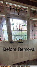 1950's Leaded Stained Glass Front Door ,  2 Side Panes And 3 Top Panes