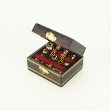 Vintage Dollhouse Miniature Wooden Filled Jewelry Cosmetic Box Dressing Case