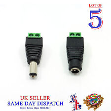 5x 12V DC Female Male Power Connector Jack Socket Plug Adapter For CCTV Cable