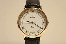 "RETRO BEAUTIFUL CLASSIC GOLD PLATED MEN'S SWISS QUARTZ 37MM WATCH ""BULOVA"""