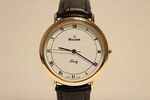 "RETRO BEAUTIFUL CLASSIC GOLD PLATED MEN'S SWISS QUARTZ 37MM WATCH ""BULOVA"""