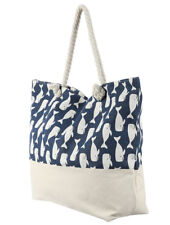 Large Blue and White Whale Print Rope Handle Canvas Beach Bag