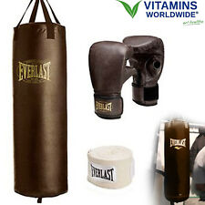 100 LB HEAVY BAG KIT Boxing Punching Gloves Hand Wraps MMA Training Vintage Styl