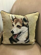 Pembroke Welsh Corgi dog Jacquard Woven Cotton Tapestry Accent Throw Pillow New