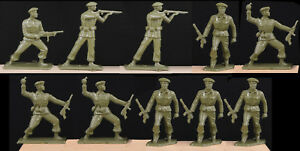 Starlux Paratroops - Set of 10 in 4 poses - 60mm Unpainted Toy Soldiers