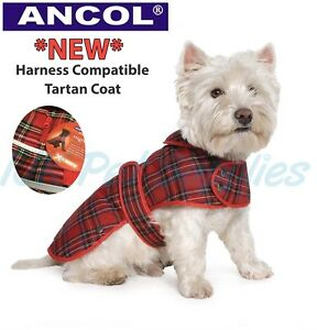 New Ancol All Weather Muddy Paws Harness Compatible Tartan Dog Puppy Coat Jacket