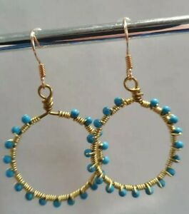 Chinese Turquoise Earrings 925S Gold Plated Hoops Cute Drop Dangle Blue Pretty