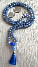 Fifth Chakra Throat Chakra Blue Aventurine Mala Beads Necklace Communication