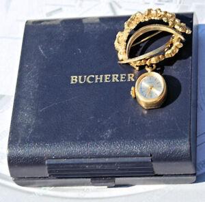 RARISSIMO orologio spilla BUCHERER d'epoca eccellenti condizioni + box originale