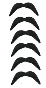 Novelty Fake Mexican Moustache Fancy Dress Costume Party Self Adhesive Set Of 6