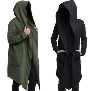 Mens Long Sleeve Hooded Cardigan Trench Coat Loose Jacket Open Front