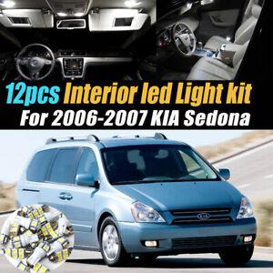 12Pc Super White Car Interior LED Light Bulb Kit Pack for 2006-2007 KIA Sedona