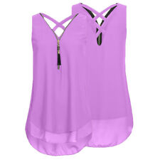 Womens Summer Chiffon Sleeveless Vest Shirt Blouse Ladies Tops Plus Size S-5XL A