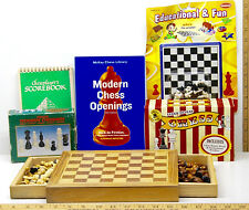 Chess Mixed Lot USCF Scorebook+Wooden Chess Sets+Modern Opening Moves Book