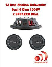 """PAIR MASSIVE 12"""" HIGH POWER LOW PROFILE CAR TRUCK 1200 WATTS SHALLOW SUB WOOFER"""