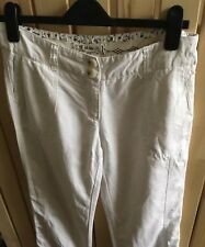 Beautiful FAT FACE Ladies White Linen cotton summer Trousers Size 6 Casual VGC
