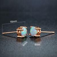 White Fire Opals Stud Earrings In 14k Rose Gold Plated Silver With Push Back