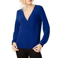 INC NEW Women's Smocked-hem Surplice Blouse Shirt Top TEDO