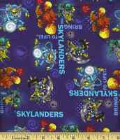 Skylanders Royal Blue Camelot 100% cotton fabric by the yard