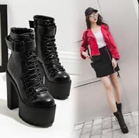 Punk Ladies Lace Up Faux Leather Platform Shoes Block High Heel Ankle Boots size