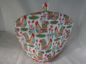 Handmade tea cosy, tea pot cover. Rooster print cotton fabric. Fit 4-5 cup pot