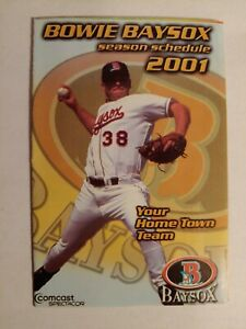 2001 Bowie Baysox Pocket Schedule AA Affiliate Baltimore Orioles Willie Harris