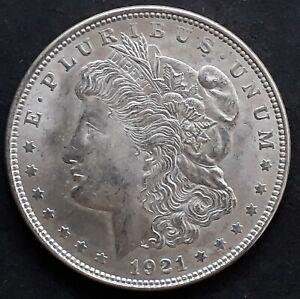 "1921 United States ""Morgan Dollar"" Silver ( .90 ) $1 coin KM110 EF"