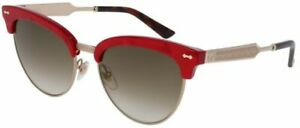 Gucci GG0055S 004 DAMASCATO Gold Red Pearl Cat Eye Metal Etched Sunglasses Women