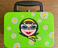 Vintage Mid Century MCM Mini Metal Lunch Box Green With Girl Daisies *EUC*