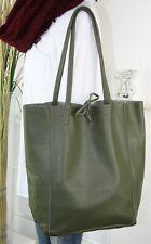 Italy bolso funda de cuero real de piel henkel Shopper Bag verde oliva h/m-8 nuevo