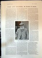 Original Old Antique Print Veteran Golfer Tom Morris Aged 83 1904