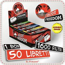1600 FILTRI CARTA ENJOY FREEDOM - 1 BOX 50 LIBRETTI DA 32 FILTRI + ACCENDINO