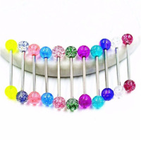 7pcs Colorful Steel Bar Tongue Rings Body Piercing Jewelry Tounge Bars
