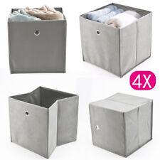 4er Set Faltbox Grau 32 x 32 cm Faltkiste Regalbox Aufbewahrungsbox Stoffbox NEU