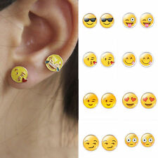 Women Girl's Funny Emoji Expressions Glass Cabochon Ear Stud Earrings Jewelry