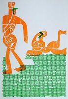 Hap Grieshaber Gehender vor Sphinx Holzschnitt Poster Plakat Kunstdruck Bild