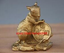 9 CM Chinese Zodiac Animal Brass Copper Mouse Rat Mice Wealth Fengshui Statue