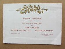 THE BEATLES ORIG   CAVERN  CLUB CHRISTMAS  CARD  1964