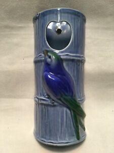 VINTAGE BLUE BIRD BAMBOO PORCELAIN HANGING PLANTER FEEDER GERMAN NUMBERED 6.75