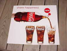 "Coca-Cola Cardboard Poster Sign ""Share + Happiness"" 16"" by 18"" Retro Coke Ad"