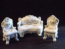 Vintage 3 Piece Porcelain Miniature Doll House Living Room Furniture Set Japan