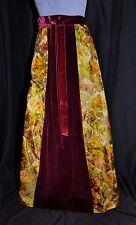 VTG 60s 70s Staron Velvet Floral Maxi Wrap Skirt Size SM Holiday Made in France