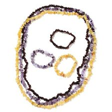Set of 3 Mozambique Garnet, Amethyst, Tanzanian Yellow Opal Chips Bracelets (Str