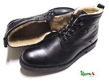 Scarpe alte uomo Vera Pelle scarponcini boots foderate calde nere gomma S&G H11