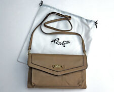 Ri2k Leather Clutch/Shoulder Strap bag Taupe/Fawn brown, unused