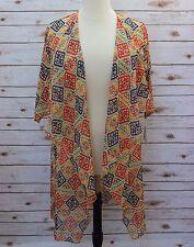 Medium LuLaRoe Shirley Kimono Chiffon Cream base Rainbow Aztec Geometric NWT