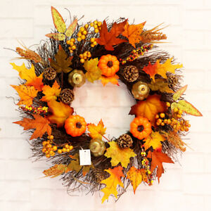 45CM Halloween Thanksgiving Party Decor Door Pumpkin Wreath Maple Leaf Garland