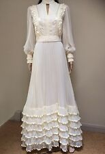 Vintage 1970s Wedding Dress 12 Pronuptia De Paris Cream Valour Elegant