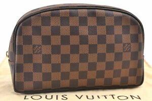Louis Vuitton Damier Trousse Toilette 25 Clutch Hand Bag N47624 LV Junk E0524