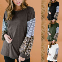 Womens Leopard Print Tee Loose Blouse Shirt Casual Jumper Pullover Tops C998